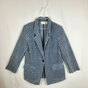 Chicos Blue Eyelet Blazer w/ Pockets Size 0